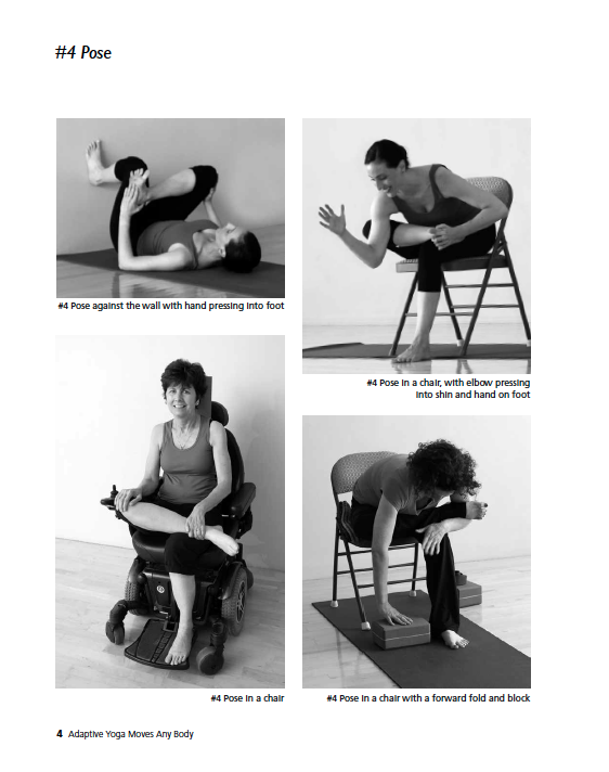 four adaptive yoga poses for those with MS, Parkinson's, and disabilities