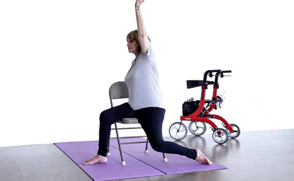person with MS practicing yoga