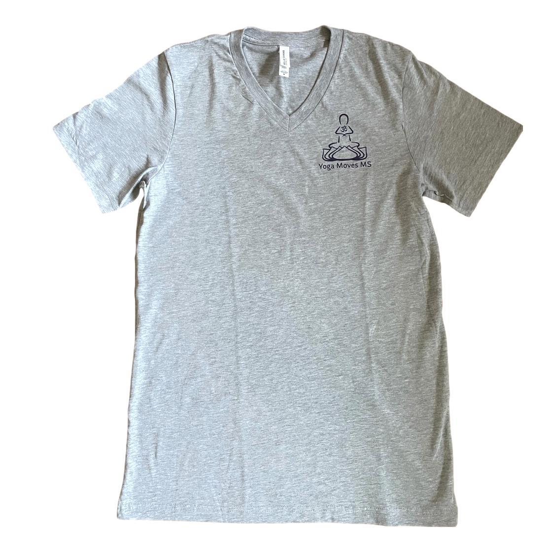 Grey V-Neck Short Sleeve T-Shirt